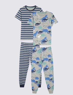 Çocuk Gri 2'li Dinozor Desenli Pijama Seti