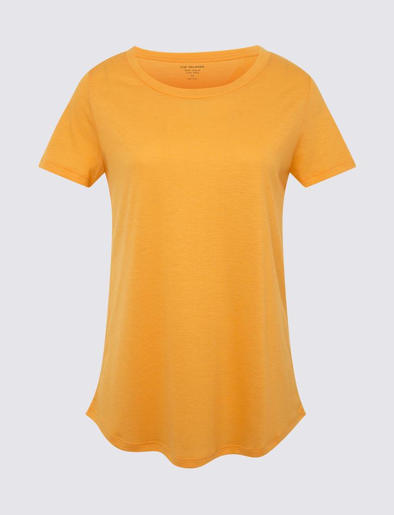 Kadın Turuncu Kısa Kollu Relaxed T-Shirt