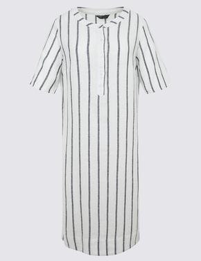 Kadın Bej Çizgili Kısa Kollu Keten Gömlek