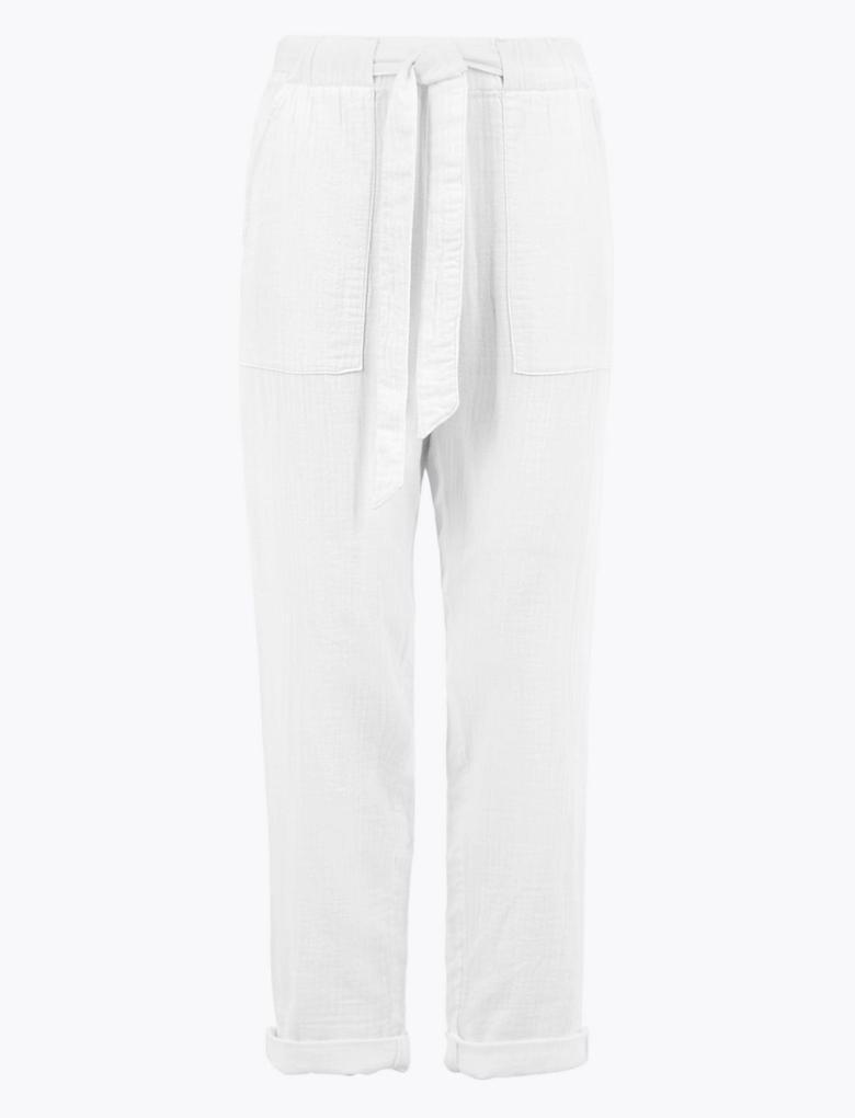 Beyaz Belden Bağlamalı Pantolon