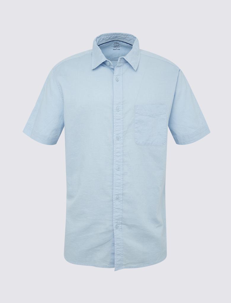 Erkek Mavi Keten Karışımlı Kısa Kollu Gömlek