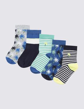 Çocuk Multi Renk 5'li Palmiye Ağacı Desenli Çorap Seti
