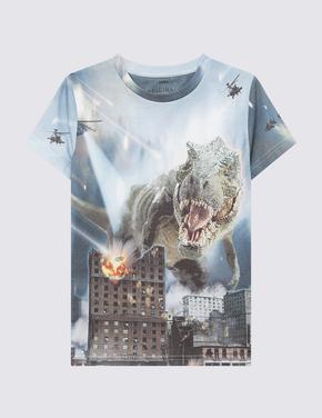 Erkek Çocuk Multi Renk Dinozor Desenli Kısa Kollu T-Shirt