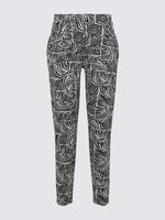 Kadın Siyah Zebra Desenli Tapered Pantolon