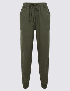 Kadın Yeşil Keten Pantolon