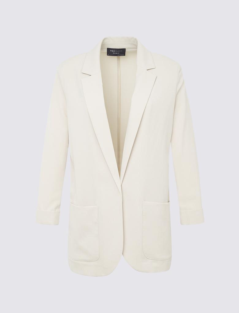 Kadın Bej Relaxed Blazer Ceket