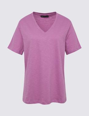 Kadın Mor Saf Pamuklu Straight Fit T-Shirt