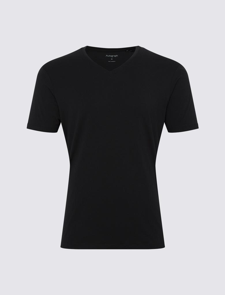 Erkek Siyah Luxury Supima® V Yakalı Atlet