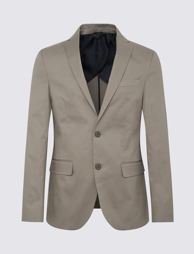 Renksiz Pamuklu Slim Fit Ceket