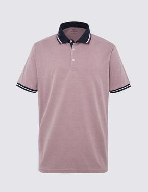 Pembe Dokulu Polo Yaka T-Shirt