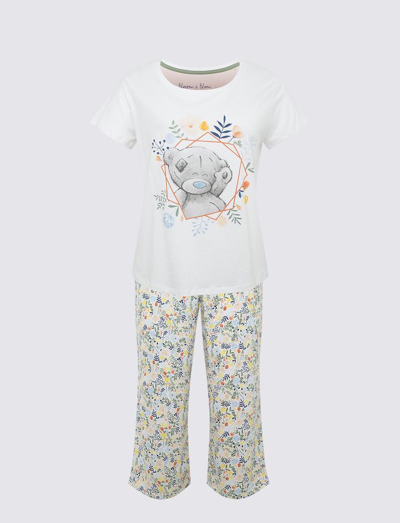 Kadın Beyaz Tatty Teddy Kısa Kollu Pijama Takımı