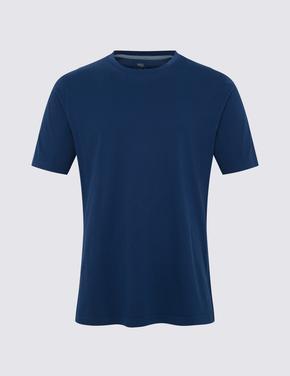 Lacivert Saf Pamuklu Yuvarlak Yaka T-shirt