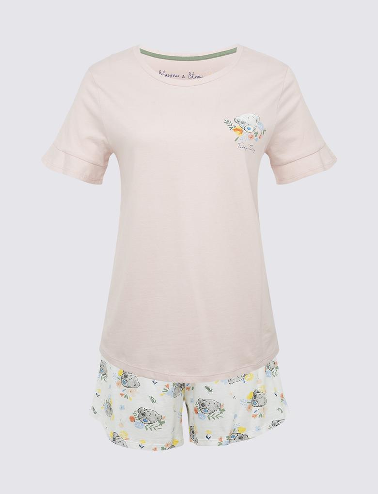 Kadın Pembe Tatty Teddy Kısa Kollu Pijama Takımı