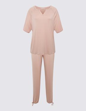 Kadın Pembe Kısa Kollu Pijama Takımı