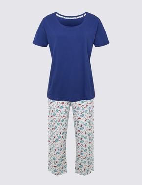 Kadın Koyu lacivert Kısa Kollu Crop Pijama Takımı