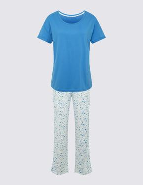 Kadın Beyaz Kısa Kollu Crop Pijama Takımı
