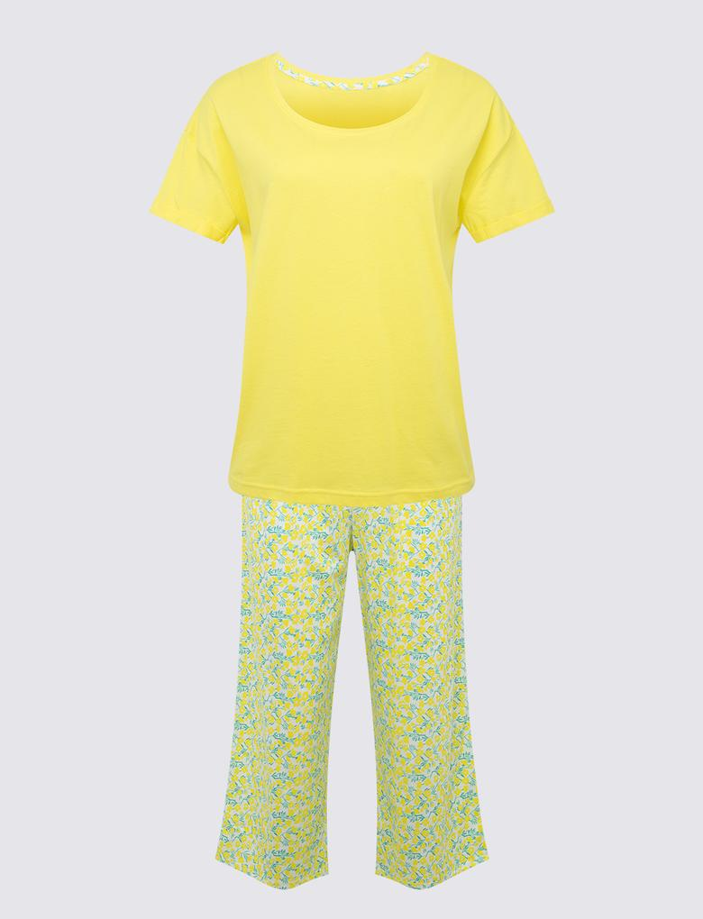 Kadın Sarı Kısa Kollu Crop Pijama Takımı