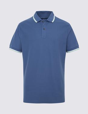 Mavi Kısa Kollu Polo Yaka T-Shirt