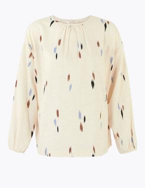 Bej Uzun Kollu Desenli Bluz
