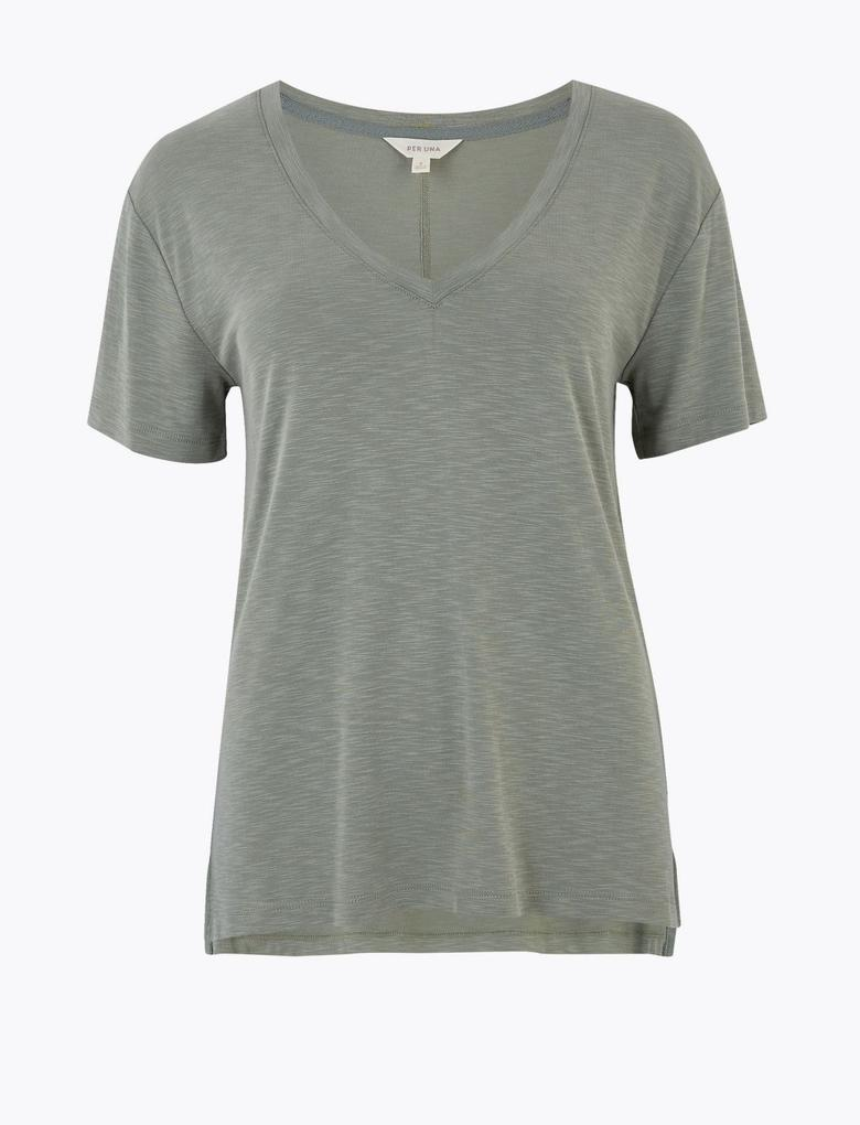Yeşil Modal Regular Fit T-Shirt