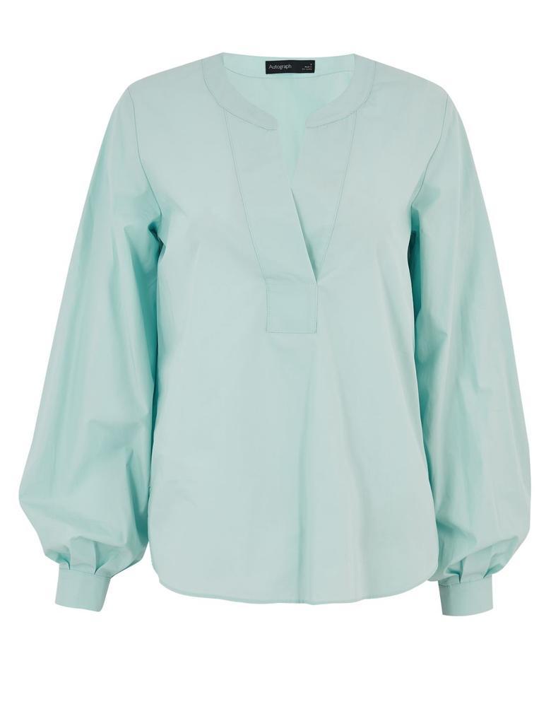 Mavi V Yaka Uzun Kollu Bluz