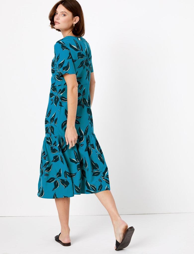 Mavi Yaprak Desenli Midi Elbise