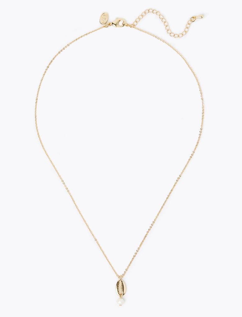 Kadın Sarı Altın Rengi Deniz Kabuğu Kolye