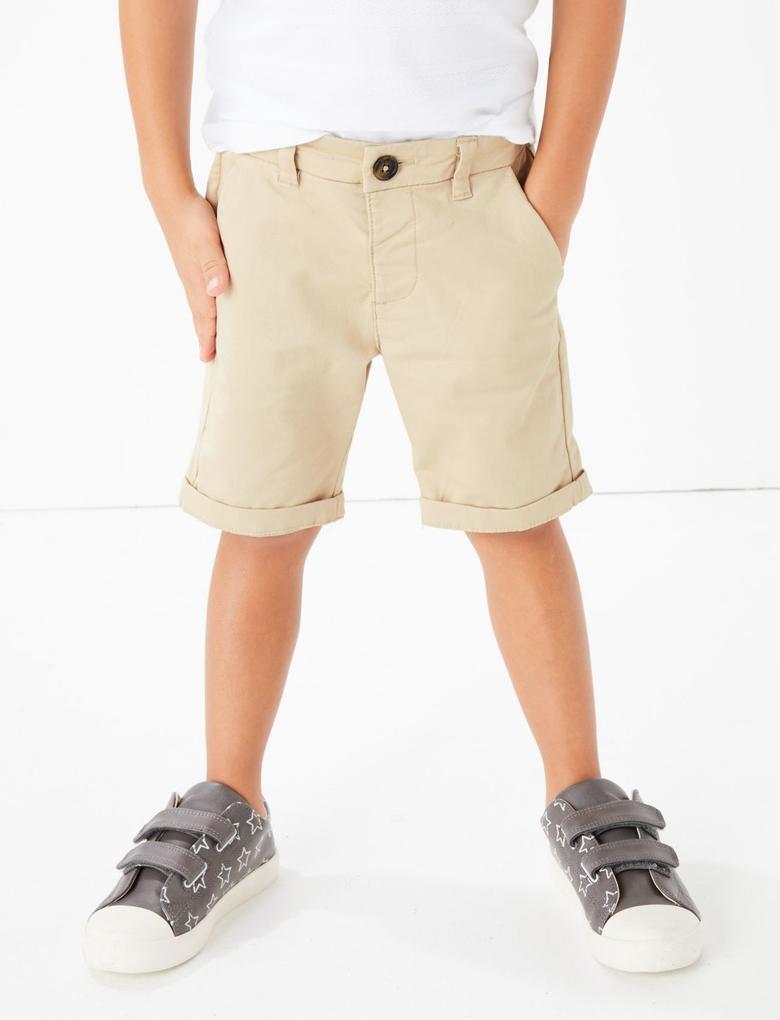 Erkek Çocuk Gri Pamuklu Chino Şort