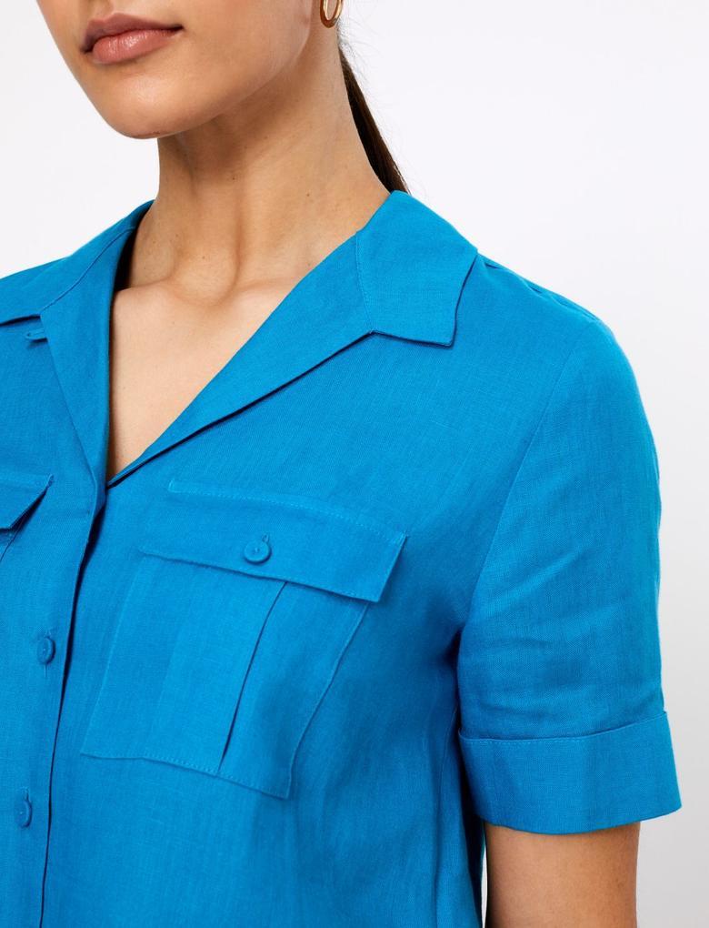 Mavi Kısa Kollu Keten Gömlek