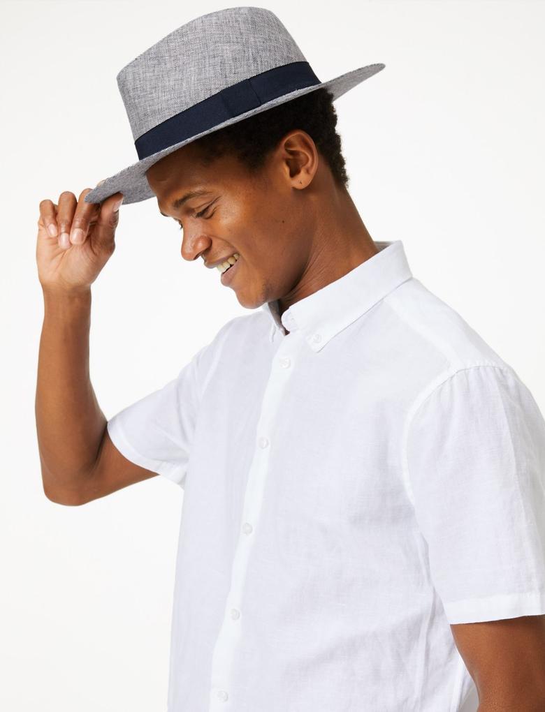 Erkek Lacivert Pamuklu Fötr Şapka