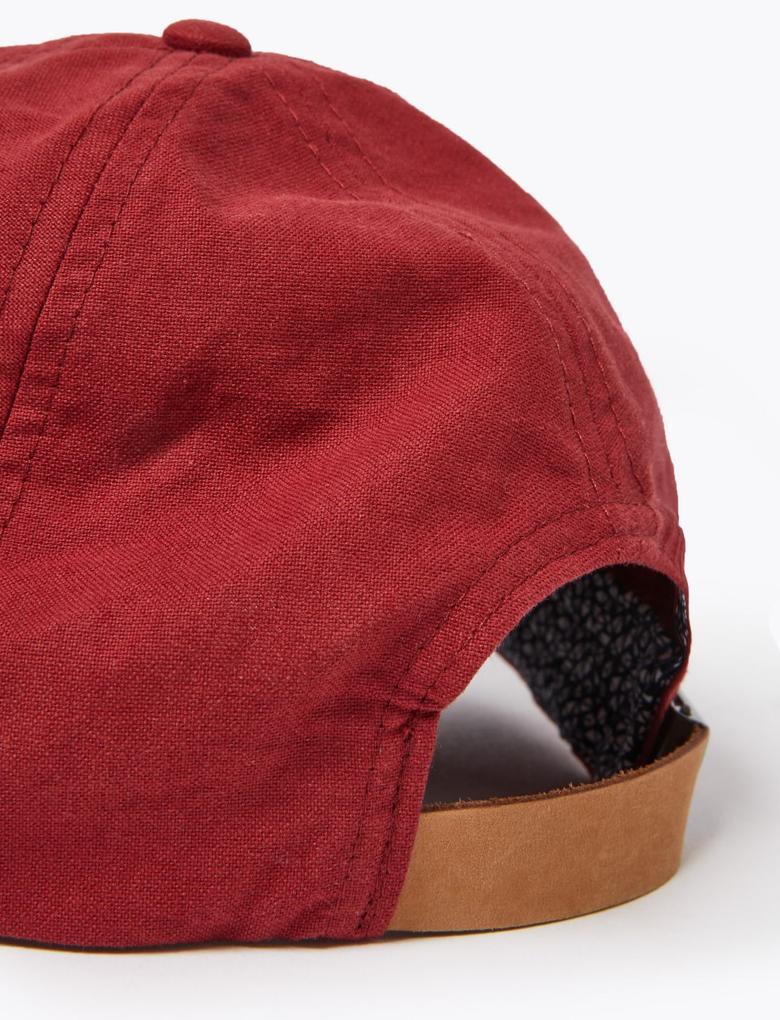 Erkek Kırmızı Saf Pamuklu Şapka