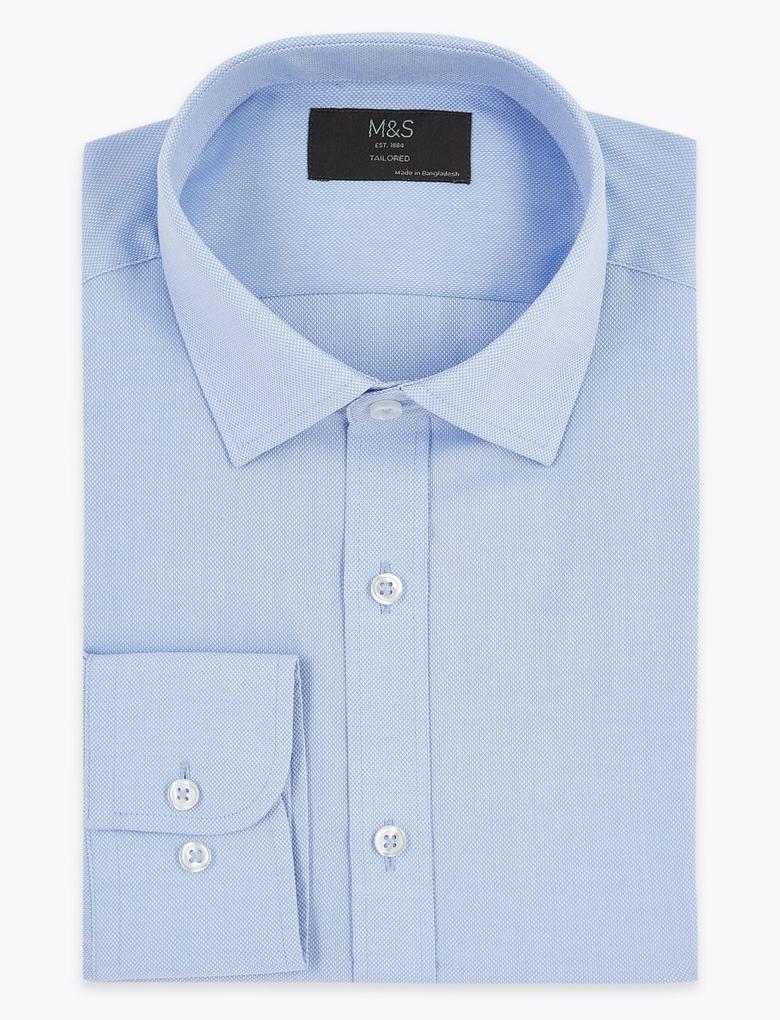 Erkek Mavi Dokulu Tailored Fit Gömlek