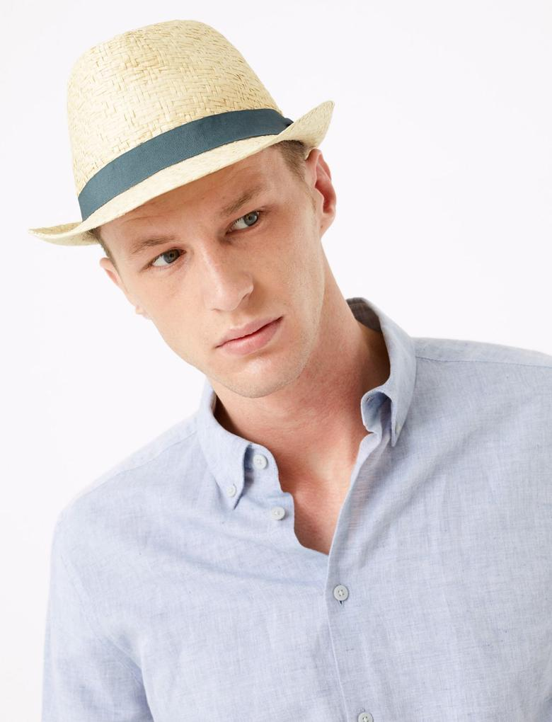 Erkek Krem Dokulu Fötr Şapka