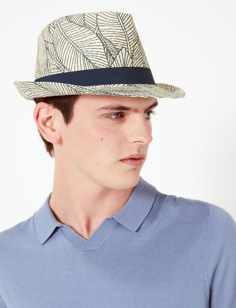 Erkek Multi Renk Tropikal Desenli Fötr Şapka