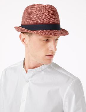 Erkek Kırmızı Dokulu Fötr Şapka