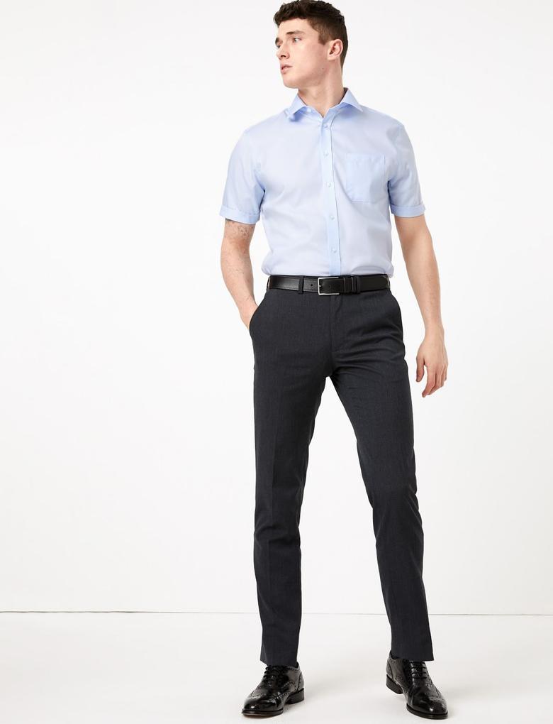 Erkek Mavi Saf Pamuklu Regular Fit Gömlek