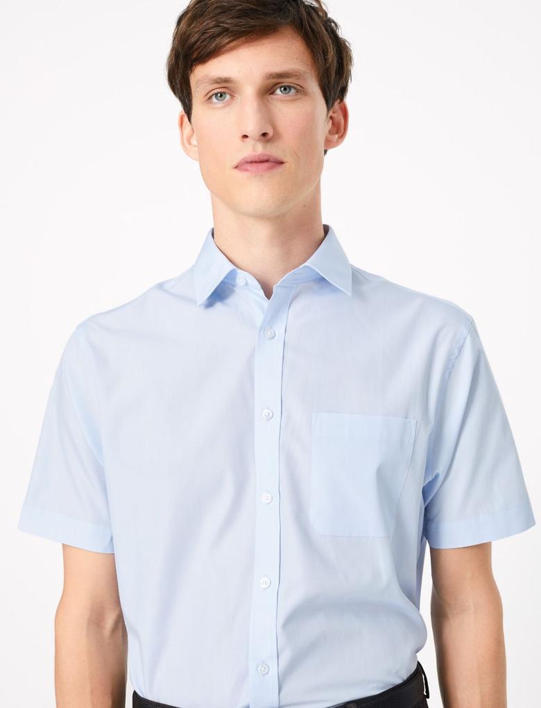Erkek Mavi 3'lü Regular Fit Kısa Kollu Gömlek Seti