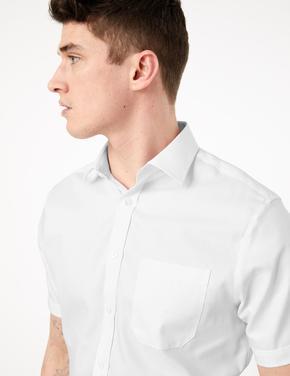 Erkek Beyaz Saf Pamuklu Regular Fit Gömlek