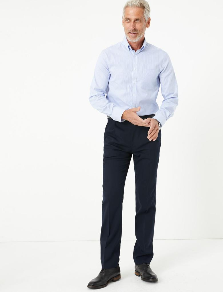 Erkek Mavi Çizgili Kolay Ütülenebilir Gömlek