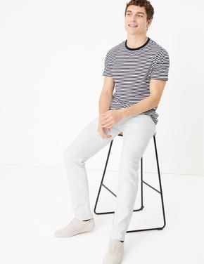 Beyaz Slim Fit Streç Jean Pantolon