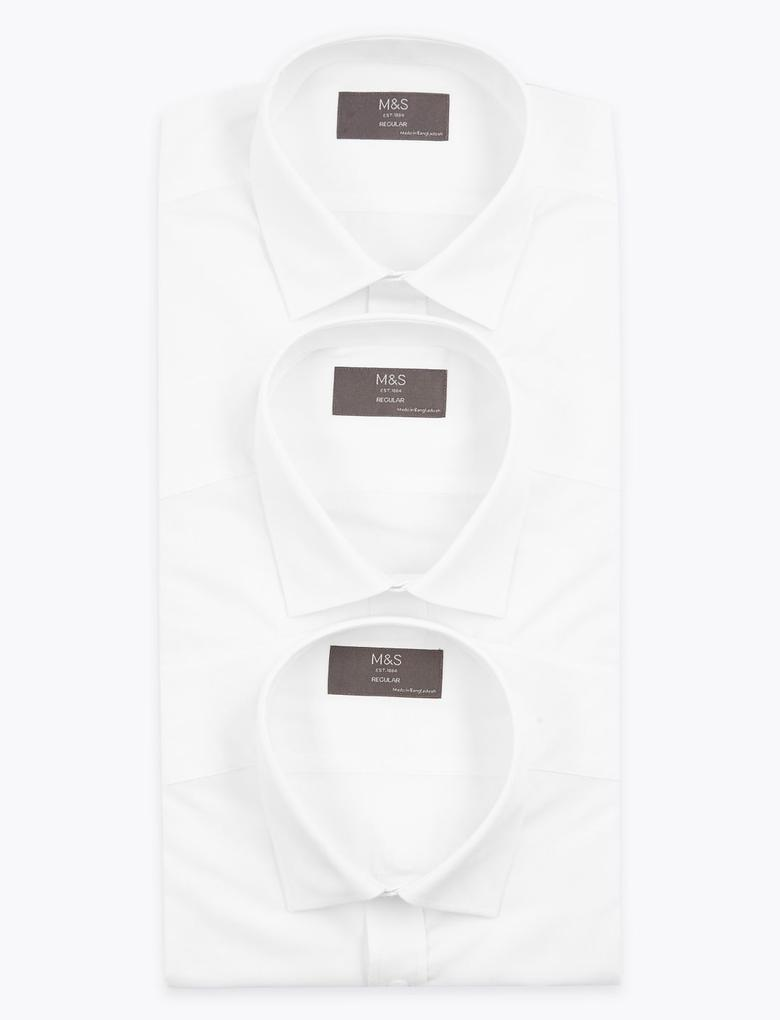Erkek Beyaz 3'lü Regular Fit Kısa Kollu Gömlek Seti