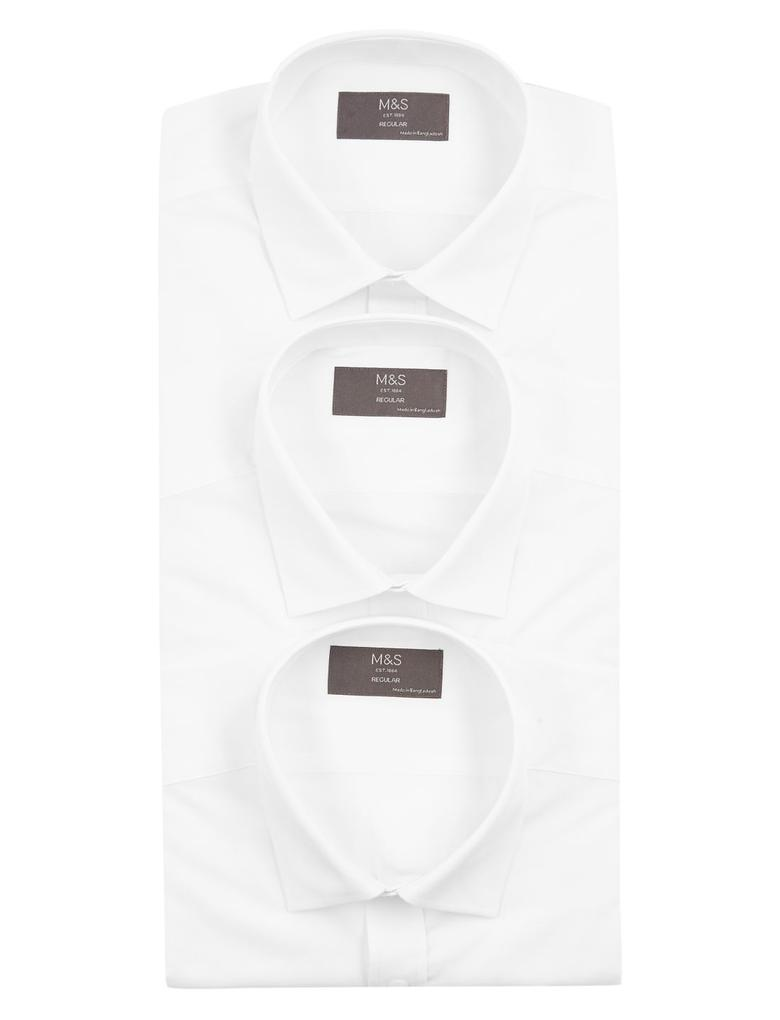 Erkek Beyaz 3'lü Kısa Kollu Gömlek Seti