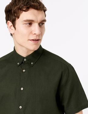 Erkek Yeşil Kolay Ütülenebilir Keten Karışımlı Gömlek