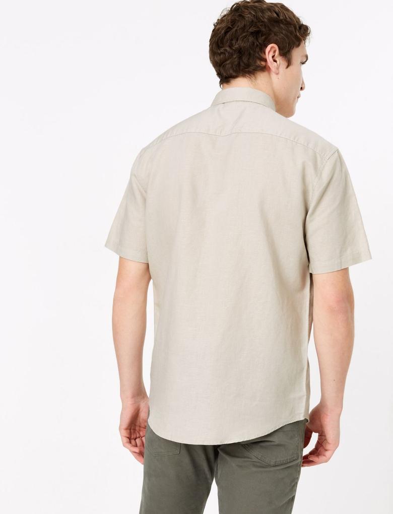 Erkek Renksiz Kolay Ütülenebilir Keten Karışımlı Gömlek
