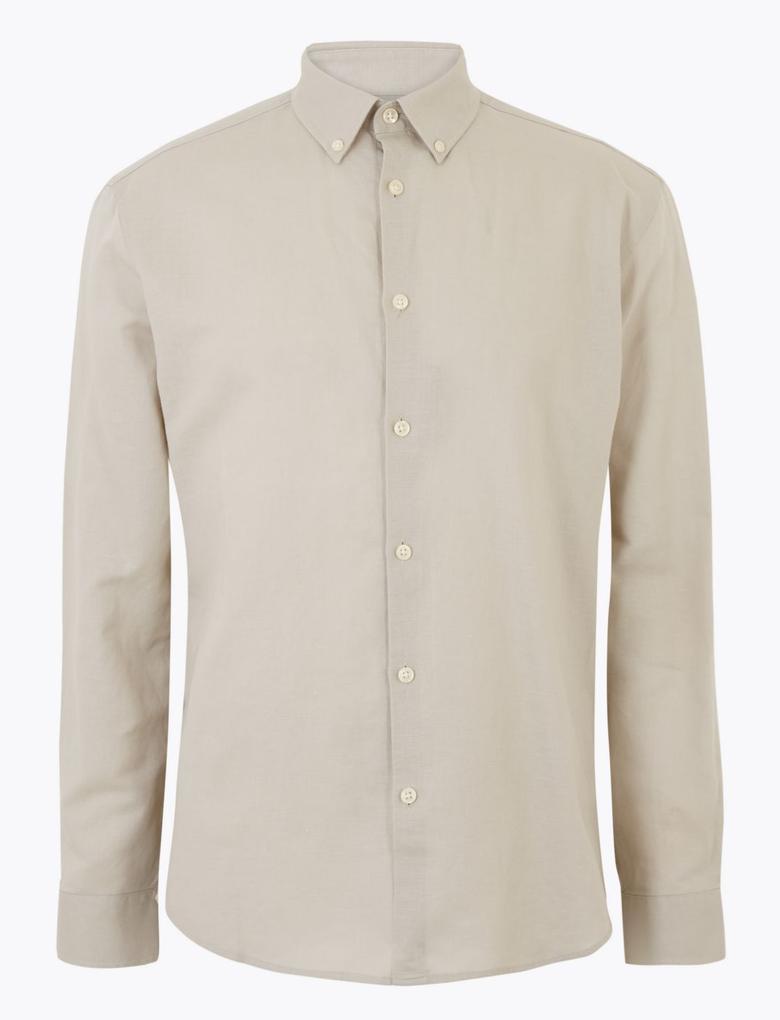 Erkek Renksiz Keten Karışımlı Kolay Ütülenebilir Gömlek