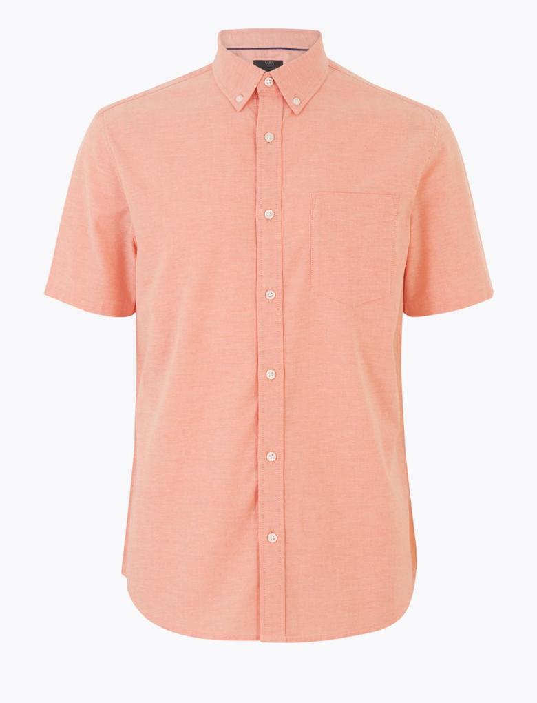 Erkek Pembe Saf Pamuklu Oxford Gömlek