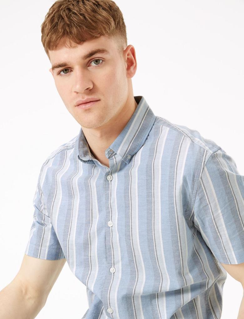 Erkek Mavi Çizgili Regular Fit Gömlek