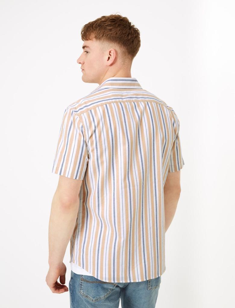Erkek Sarı Çizgili Oxford Gömlek