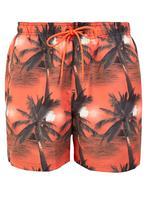 Erkek Turuncu Palmiye Ağacı Desenli Mayo Şort