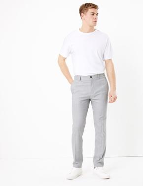 Erkek Gri Dokulu Slim Fit Pantolon